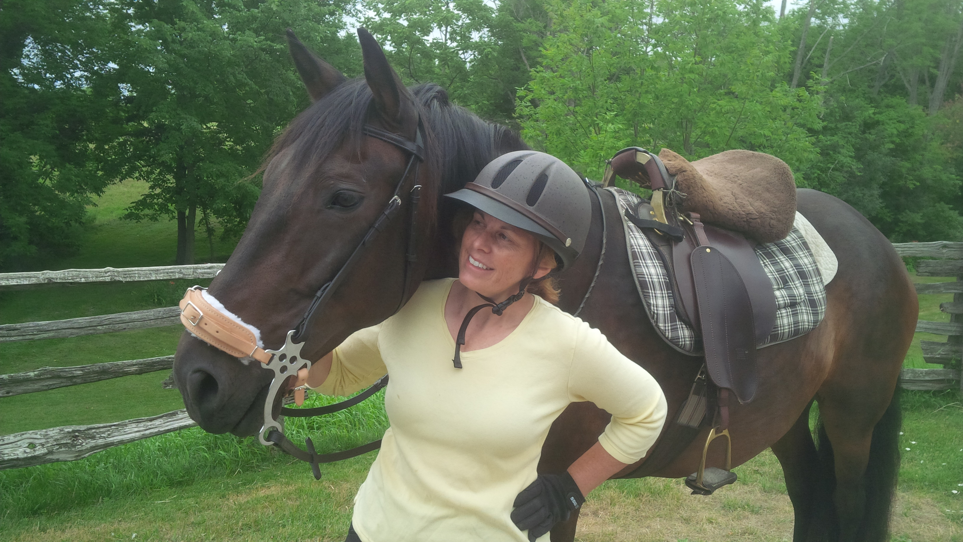 In her happy place. Harwood has a love for equestrian life.