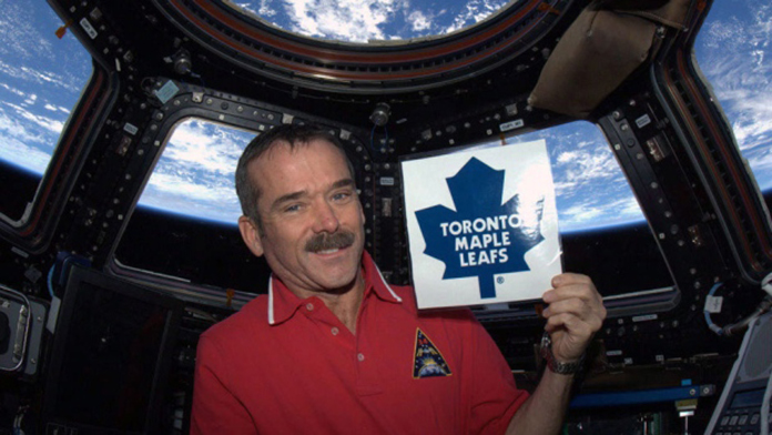 Chris Hadfield, who has preformed the Nation Anthem at a Leafs game, took part in a puck drop live from the ISS