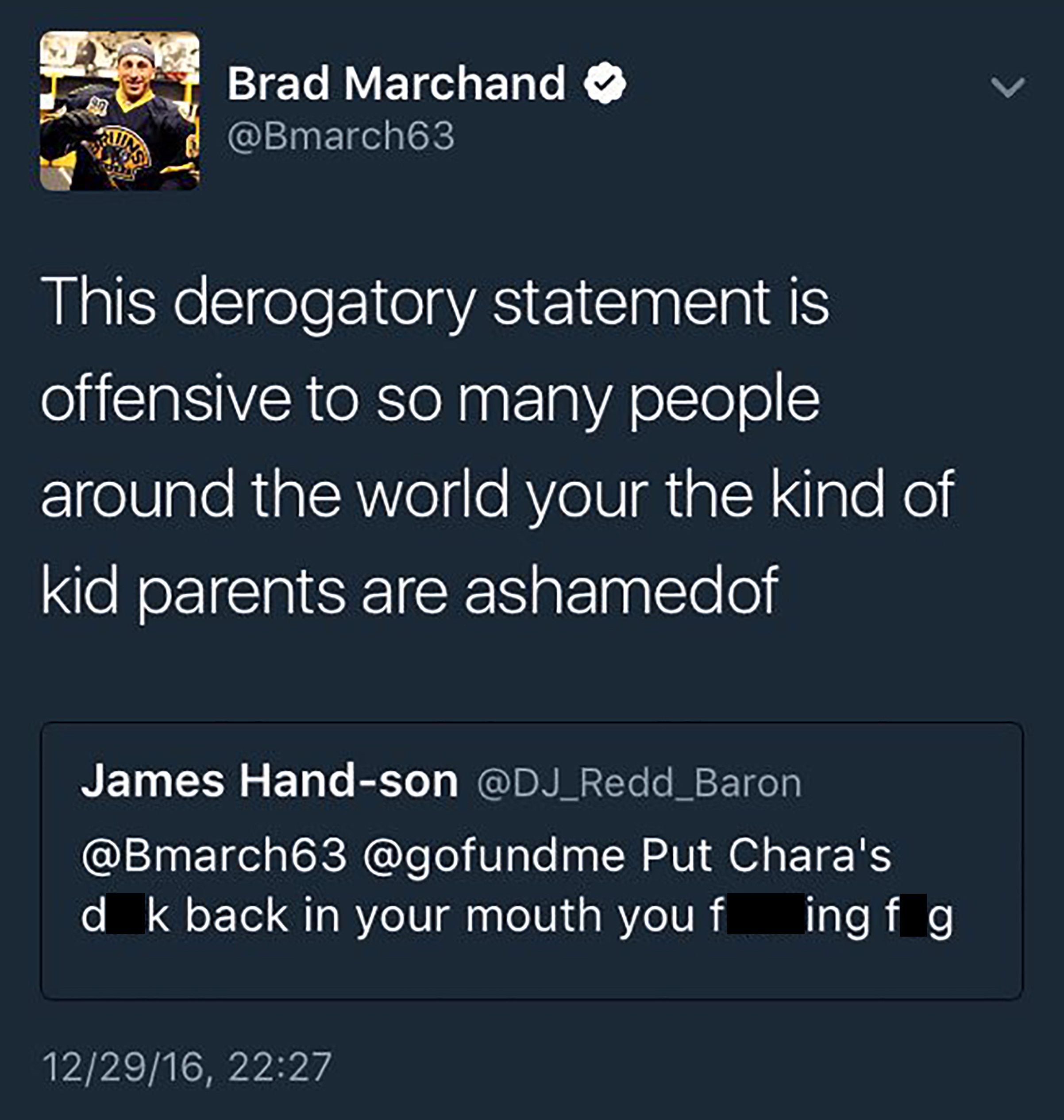 Screencap posted by Brad Marchand