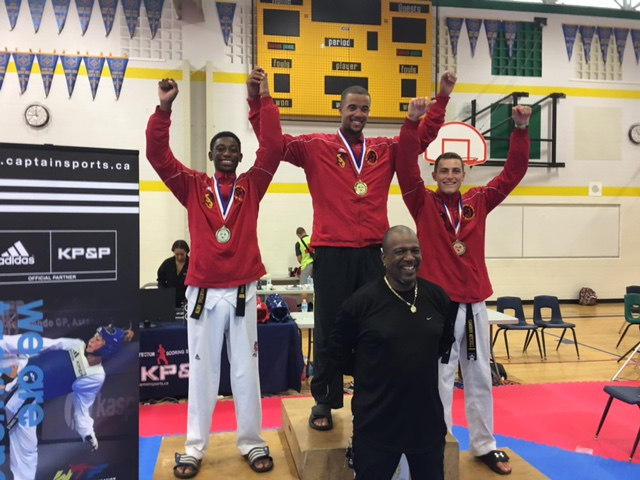 Adam Tomlinson (middle) winning gold at the 2016 Ontario Provincial Championship.