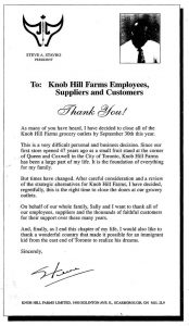 Stator's final letter to his employers regarding the shutdown of Knob Hill Farms.