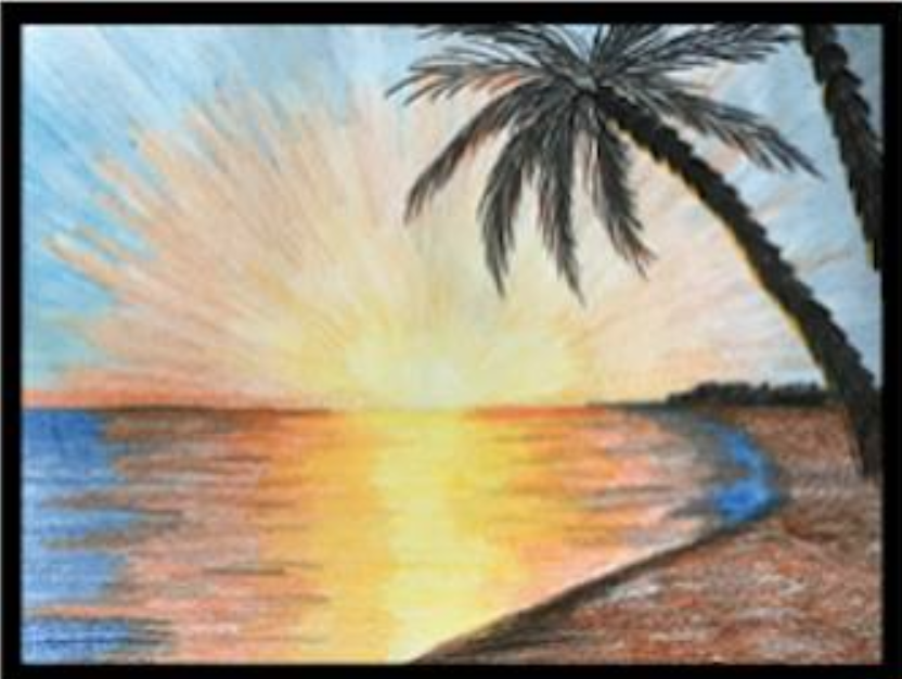 Drawing of a beach created by Sarah Shaw, photo courtesy of Sarah Shaw