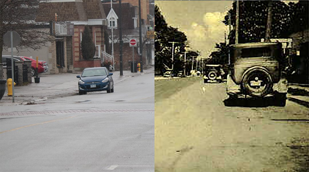 Juxtapose photo of 84 Old Kingston Road looking east in Ajax's Pickering Village.