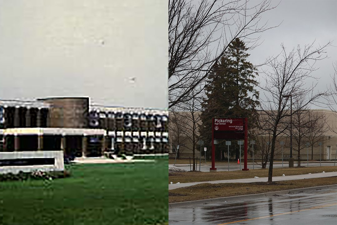 Juxtapose photo of Pickering High School near the Pickering Village. Photo by Dennis B. Price. Photo archived from Pickering Public Library.