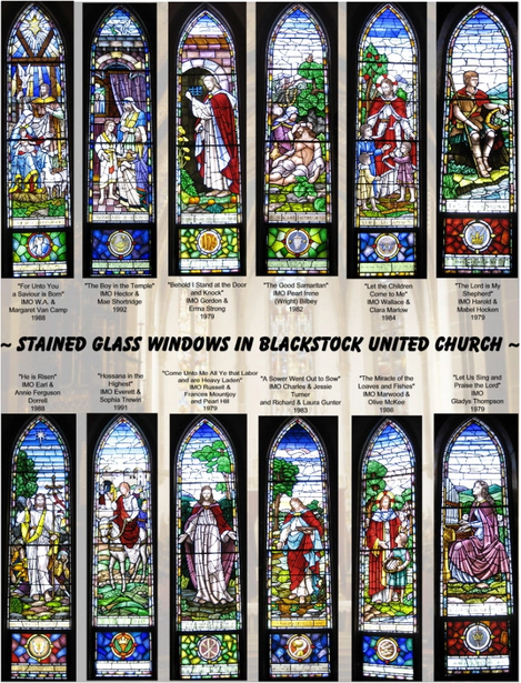 Windows in the Blackstock-Nestleton United Church telling the story of Jesus Christ.