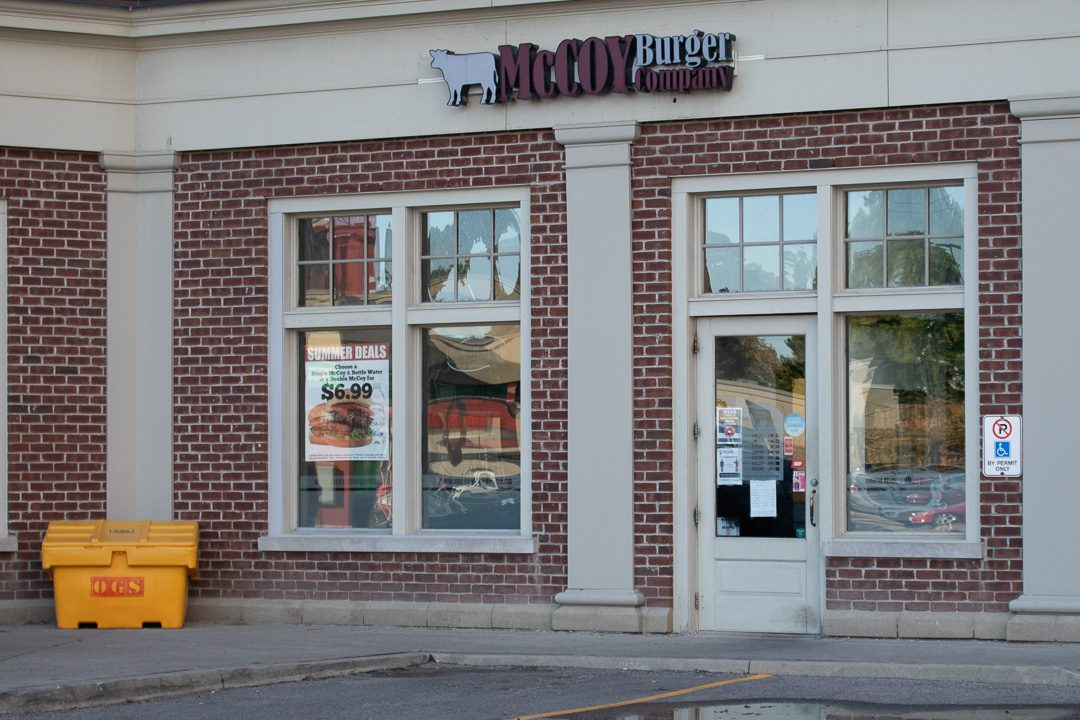 The McCoy Burger company closed its location at Campus Corners Plaza, Oshawa last month. University and college students represented the majority of their business there.