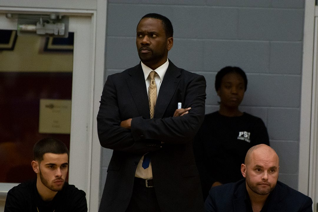 Ridgebacks head coach Greg Francis watching from the sidelines during the home opener against the Queen's Gaels on Nov. 3, 2019