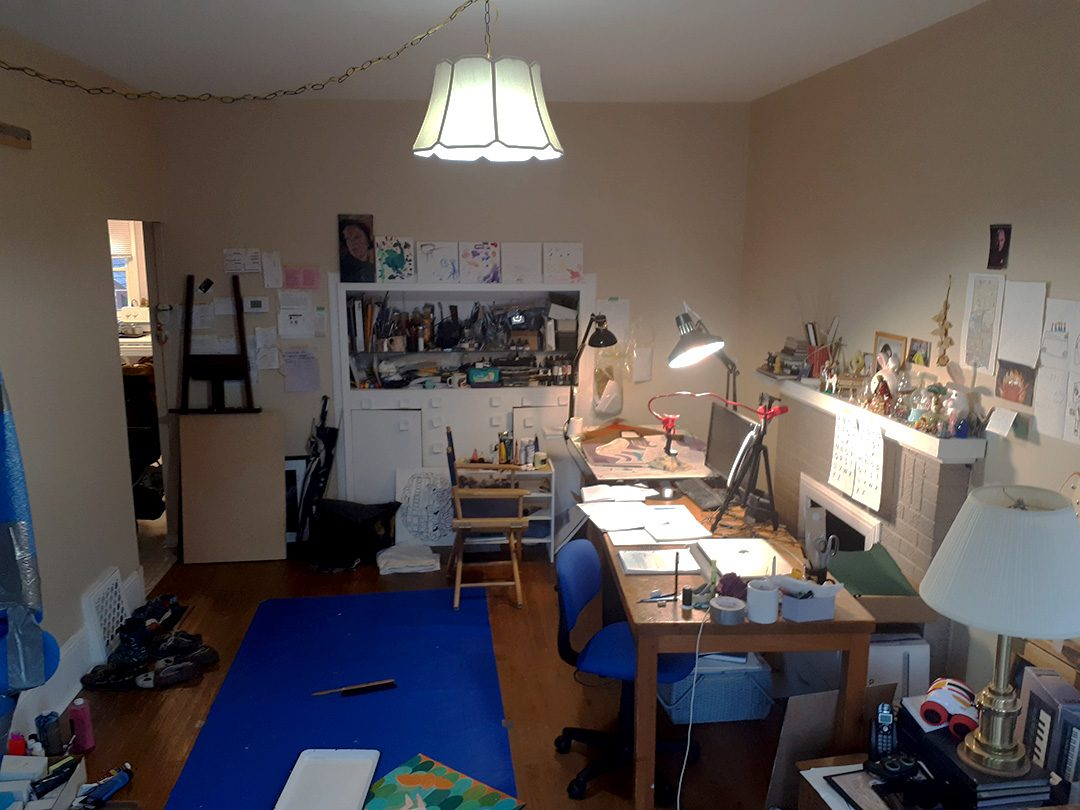 OSHAWA- A photo taken of local artist Dani Crosby 's living room art studio space where she plans on painting the five neighbourhood portraits, based off the online survey's responses for,'Listening To Our Neighbours.' Her studio is located within her home which is in Central Park, one of the five priority neighbourhoods.