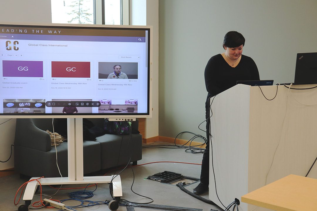Casandra Whyte is the Global Class assistant. Whyte assists professors with content streaming during virtual lectures in the Global Class.