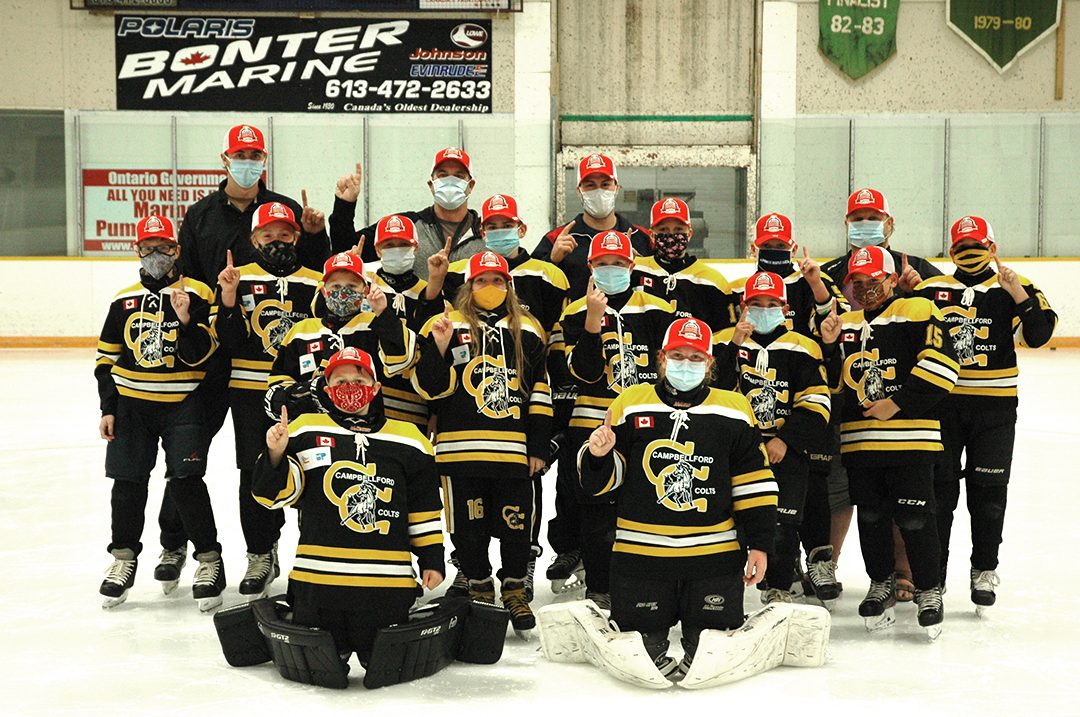 The 2020 Campbellford Colts wearing the red hats after being named co-champions of the Ontario Minor Hockey Association All-Ontario Finals.