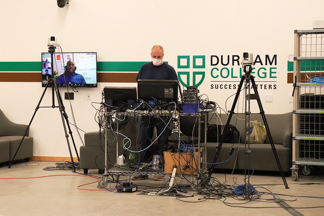 """""""Stuart Reid helps with everything from set up of classes, camera control, audio control, recording, mixing, and bringing new ideas to the project."""" Says Casandra Whyte, Global Class assistant."""