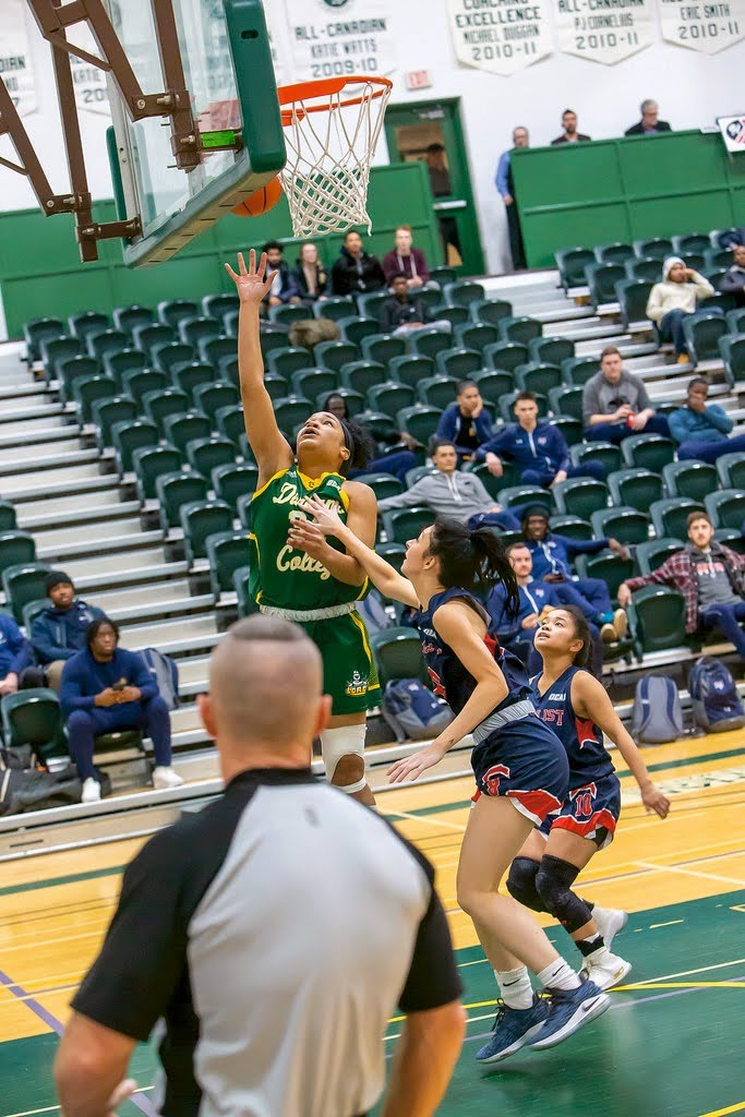 OSHAWA ONT. Kendra Oliver, 19, does a lay up on the court to try to score a shot for her Durham Lords team.