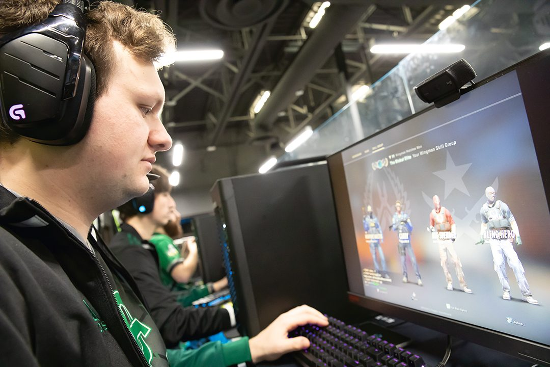 Austin Waite playing Counter-Strike: Global Offensive in the Durham College Esports Arena.