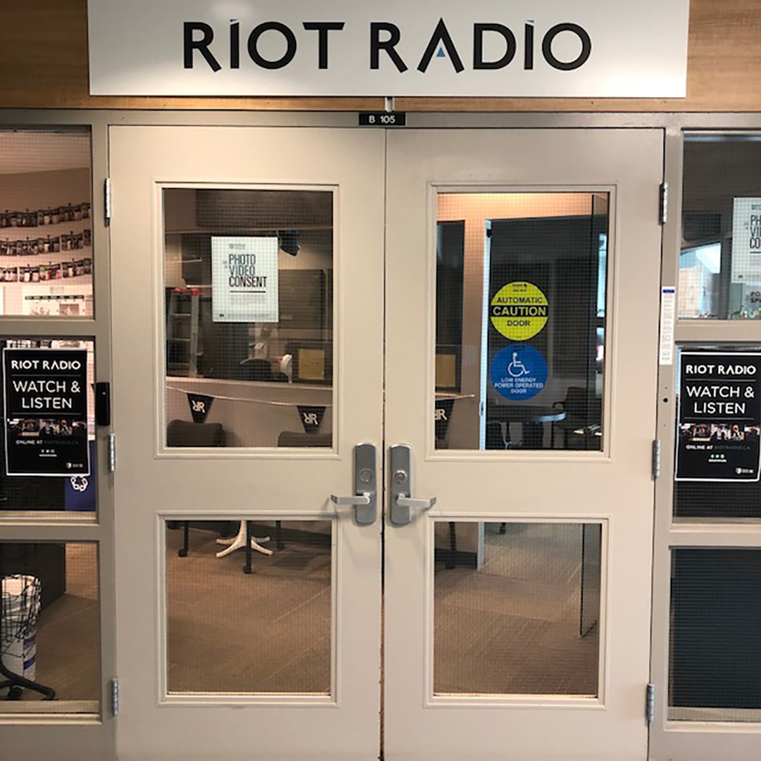 Riot Radio station from the outside where students used to buzz in and out of.