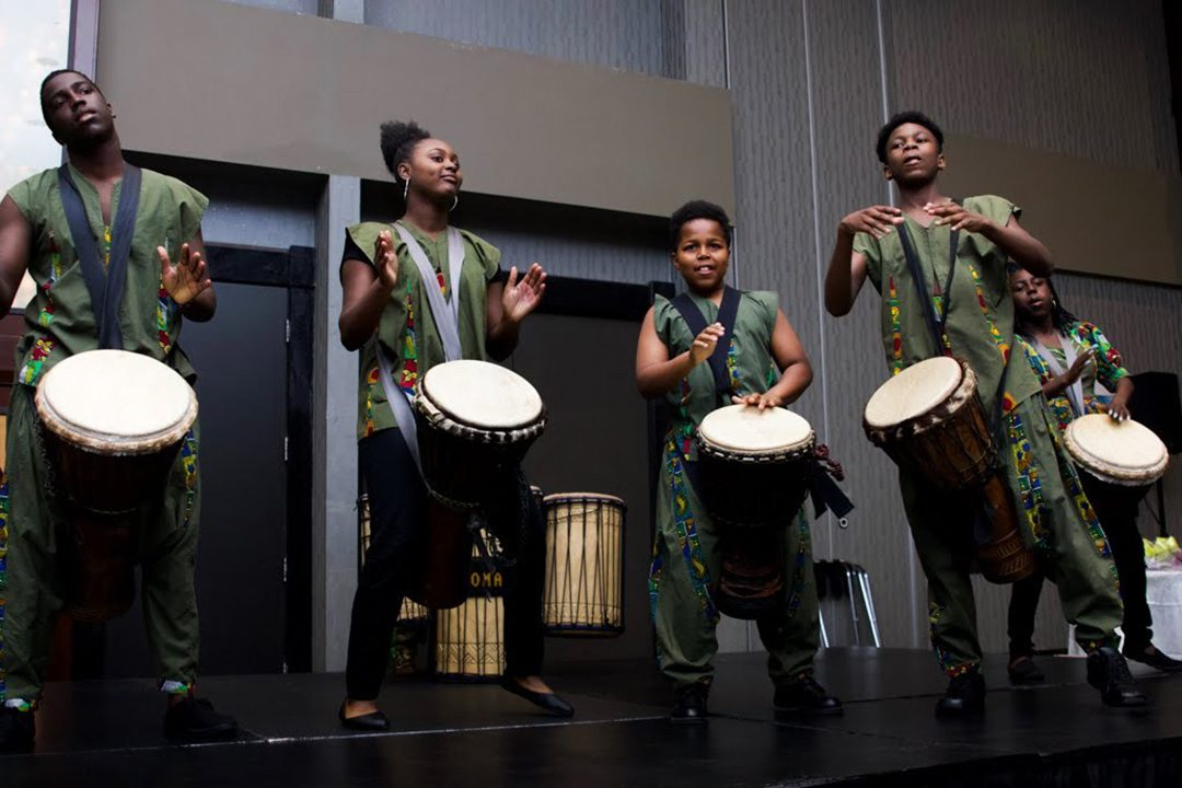 Ngoma Ensemble Drummers performing at the 2019 Scholarship Awards at the Congress of Black Women of Canada, Ajax/Pickering chapter.