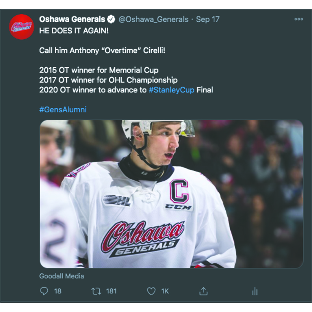 Screen shot of the Tampa Bay Lightning replying to the Oshawa Generals after Anthony Cirelli scored the overtime winner to advance to the Stanley Cup Finals.