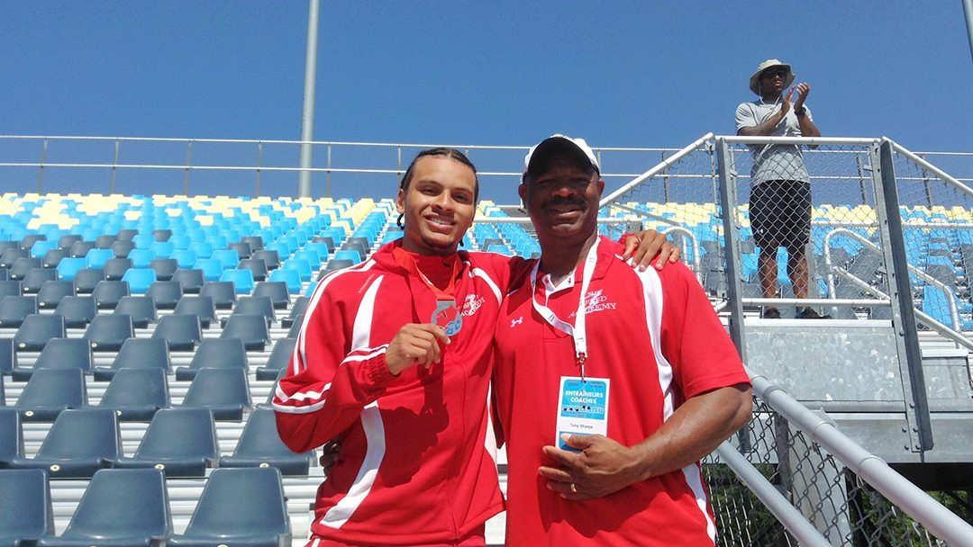 Andre De Grasse's silver medal win for 100 metres at his first Canadian Nationals with Coach Tony Sharpe.