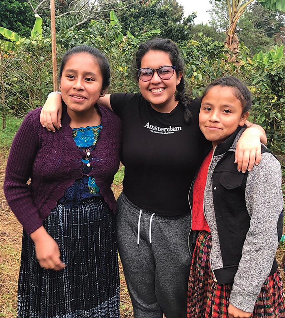Valentina Barros (centre) visited Las Arrugas to teach students in the community how to create podcasts.