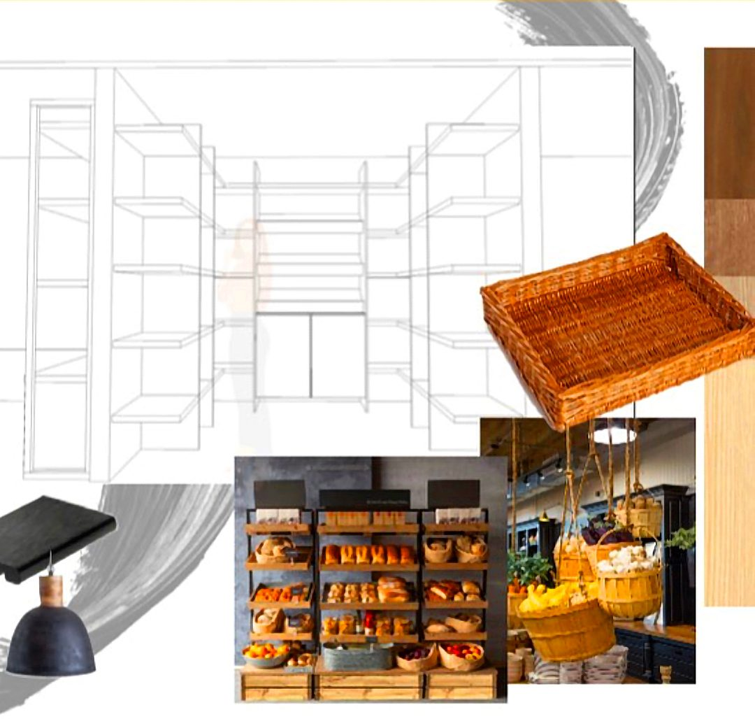 An illustration of what a shelving unit will look like in the Oshawa Farmers Market.