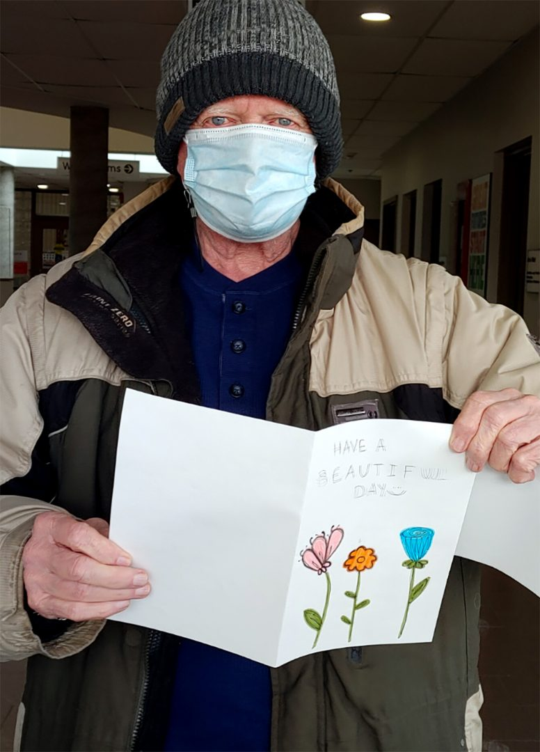 Don C, is a Northview Adult Day Program Client and one of many OCSS 55+ clients to receive a handmade card by Durham College PSW students. He thinks receiving a card is great and a neat idea.