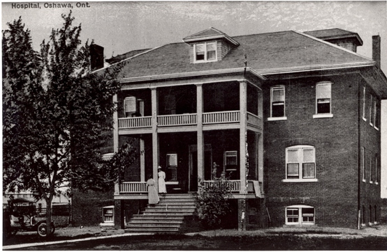 The Oshawa General Hospital in 1911, where you can see two nurses on the front steps.