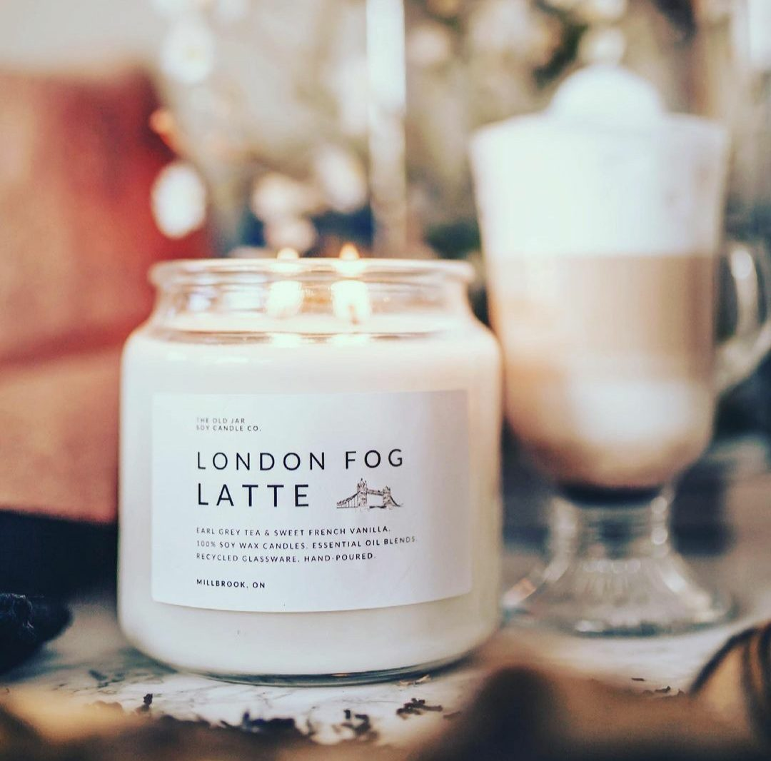 "Old Jar Candle Co. ""London Fog Latte"" scented candle"