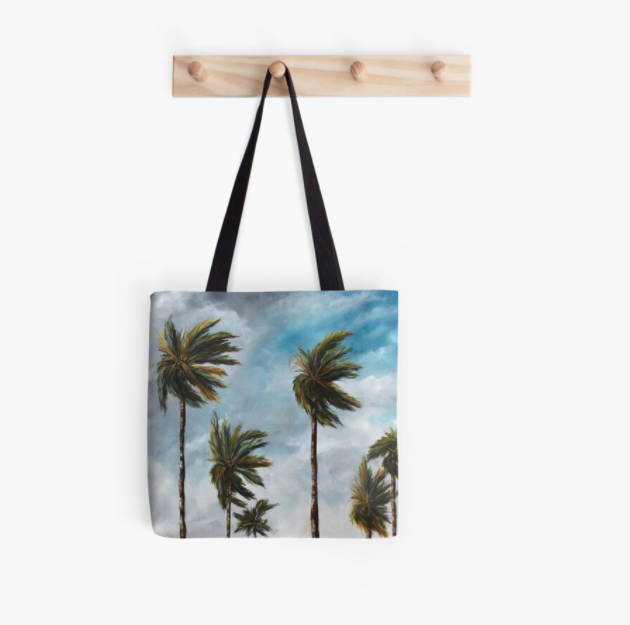 Tote bag with palm tree design, by Katherine Polack